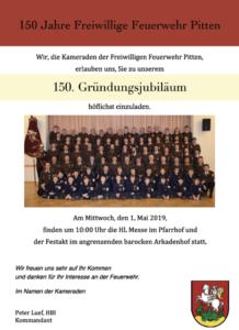 150 Jahre Freiwillige Feuerwehr am 01.05.2019